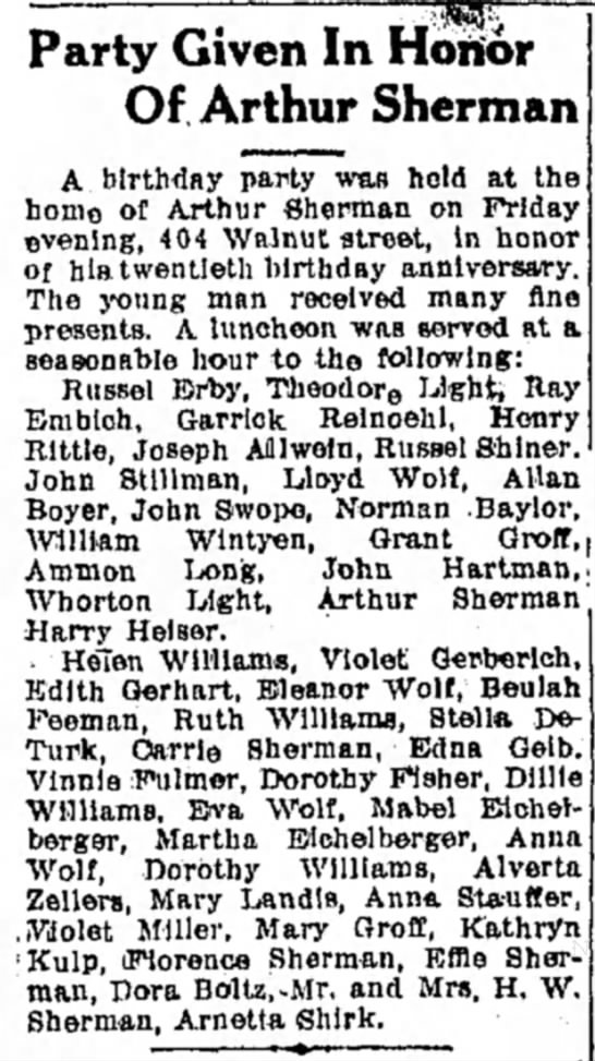 Eichelberger sisters attend party LDN 17 Jul 1916 -