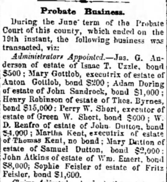Wm Emert Probate 8 Aug 1873 Alton Telegraph -