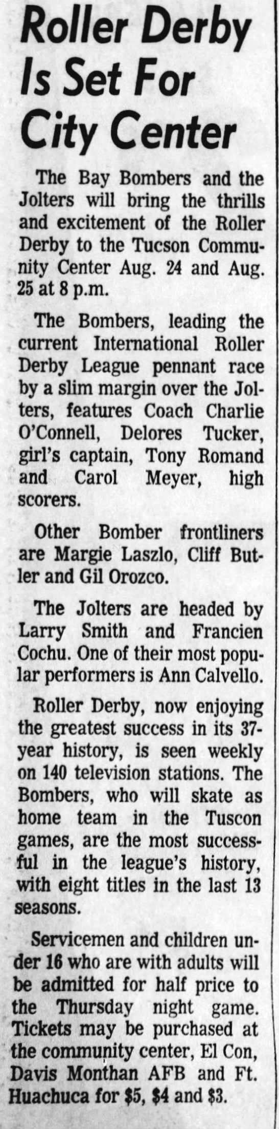 08-17-72 Arizona Daily Star, Tucson, AZ - Roller Derby Is Set For City Center The Bay...