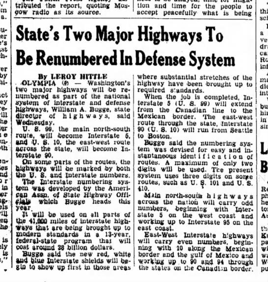 Interstate renumbering -