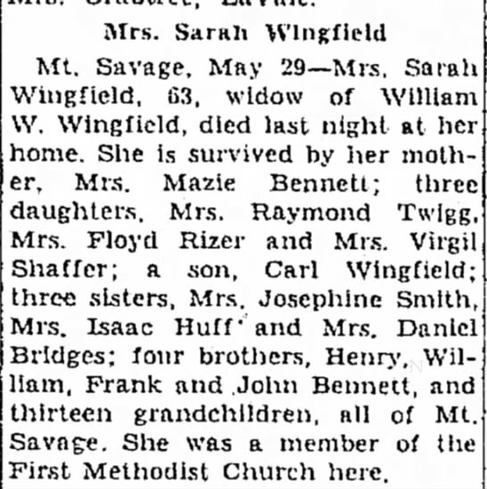 Obituary of Sarah Bennett Wingfield -