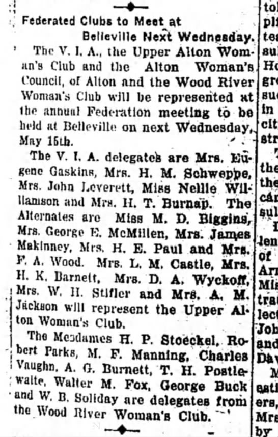 Mrs M F Manning - . Federated Clubs to Meet at Belleville Next...