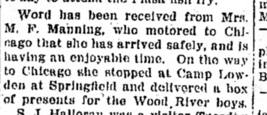 Mrs M F Manning - Word has been received from Mr«. M. F. Manning,...