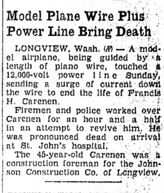 Francis Howard Carenen accident