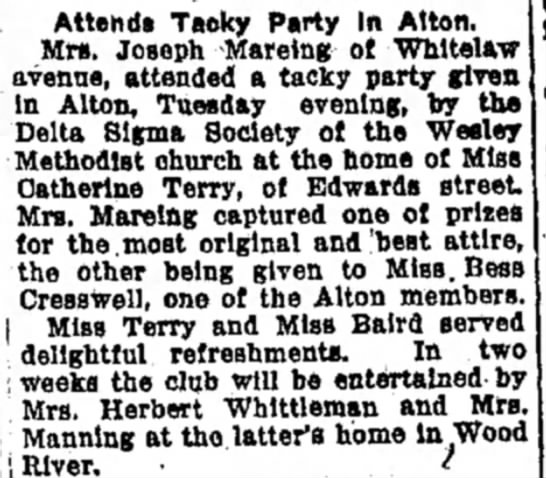 Mrs M F Manning - Attends Tacky Party In Alton. Mrs. Joseph...