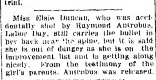 Girl shot by Ray Antrobus improving - trial. Klsio IJuncau, who was arc!dentally...