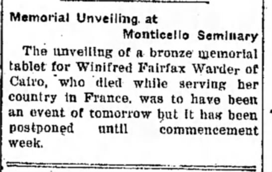 Bronze memorial tablet to Winifred Fairfax Warder (1920) -