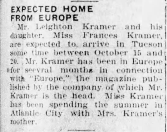 Leighton Kramer, returns from Europe with Frances, Oct 10, 1926 -