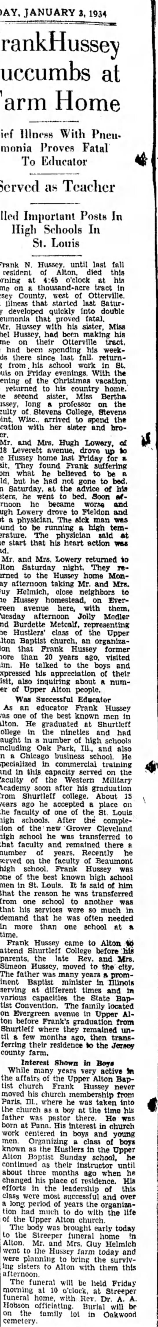 Mr and Mrs. Helmick 1934 - JANUARY 3,1934 FrankHussey Succumbs at Farm...