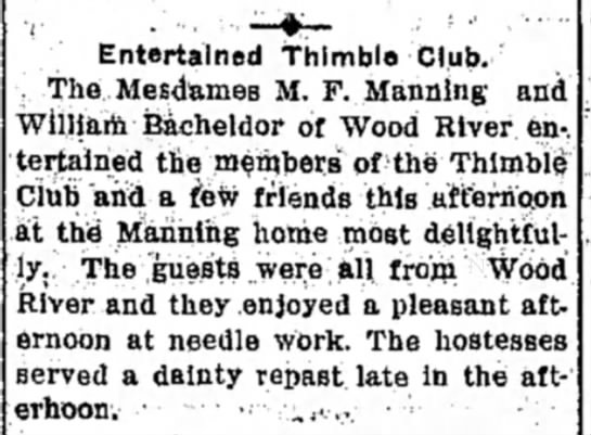 Mrs M F Manning - Entertained thimble Club. Thei Mesdfcmes M. F....