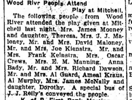 Mrs M F Manning - Wood , ,Play at Mitchell, The following people...