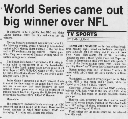 World Series came out big winner over NFL -
