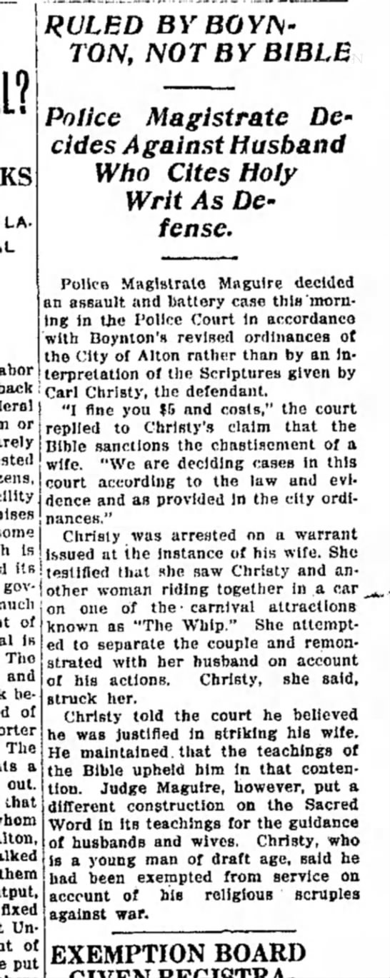 Cristy, Carl, Boynton, IL, RELIGIOUS OBJECTOR, also fined for assulting wife -