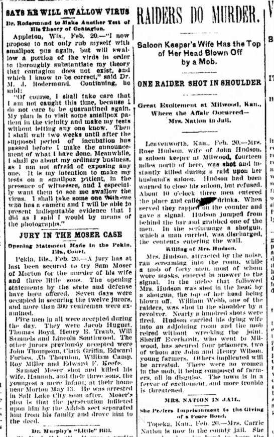 Jury in Moser Case, Mrs. Nation, smallpox dr. Alton, IL 2-20-1901 -