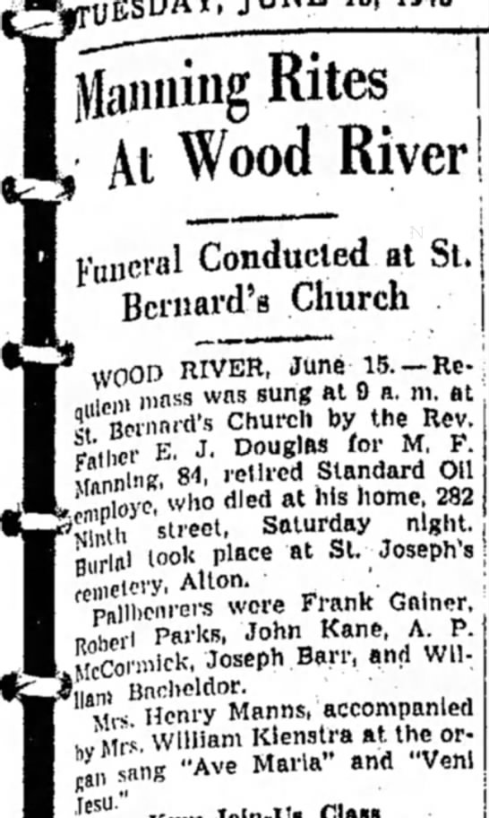 M F Manning Funeral Rites at St Bernared's Church -