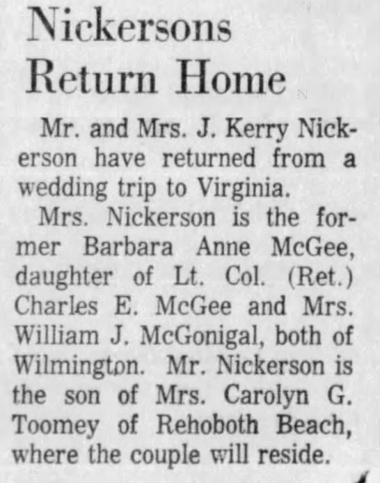 Nickersons return home from wedding trip -