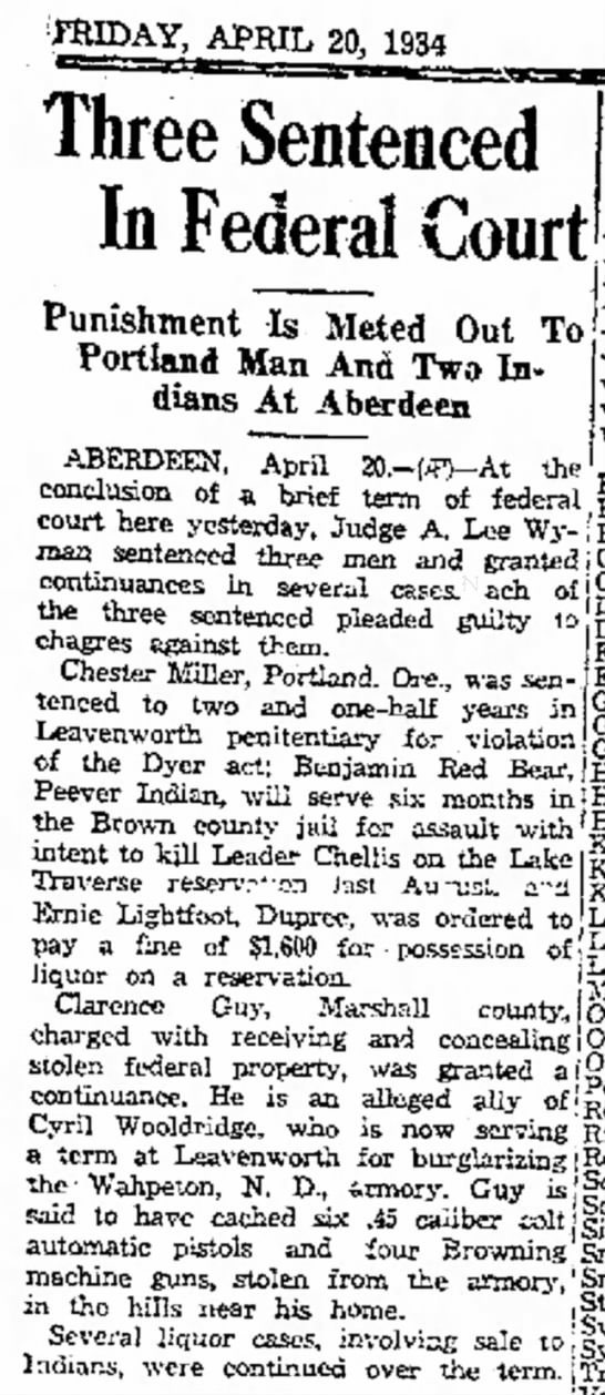 - : raiDAY, APRIL 20, 1934 Three Sentenced In...