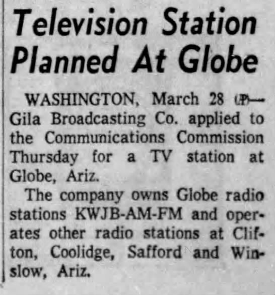 Television Station Planned At Globe -