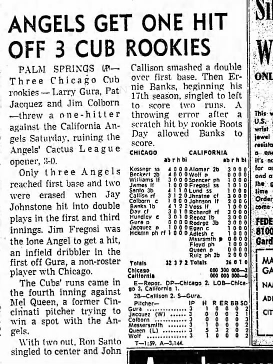 March 7 1970 Angels vs Cubs Palm Springs -