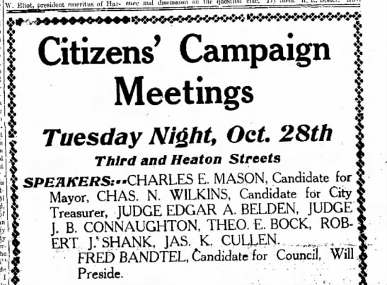 Fred Bandtel,The Journal News Hamilton, OH Oct.28,1913 Tues. p.7 -