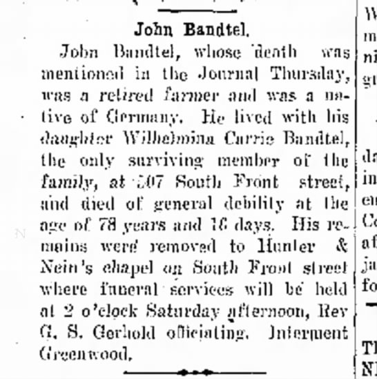 John Bandtel Obit.,The Journal News, Hamilton, OH  Jan.16,1941 Thurs. p.5 -