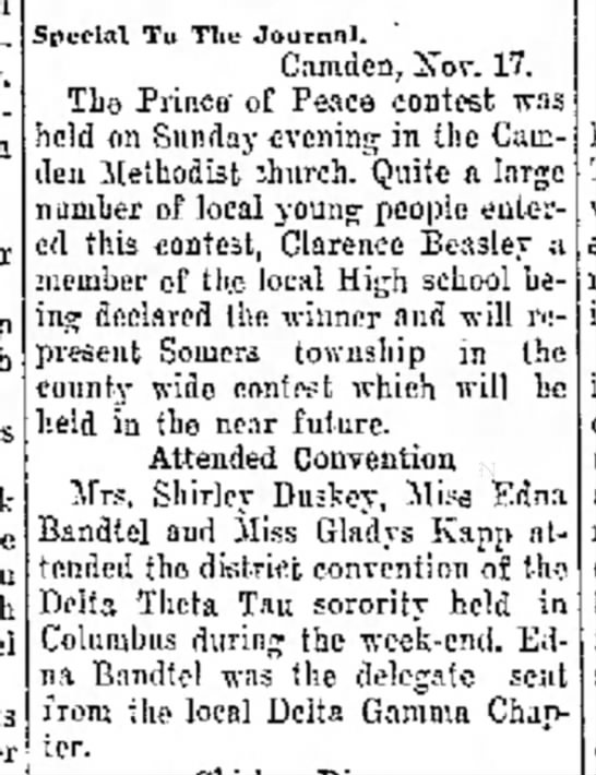 Edna Bandtel, The Journal News, Hamilton, OH, Nov.17, 1931 Tues. p.2 -