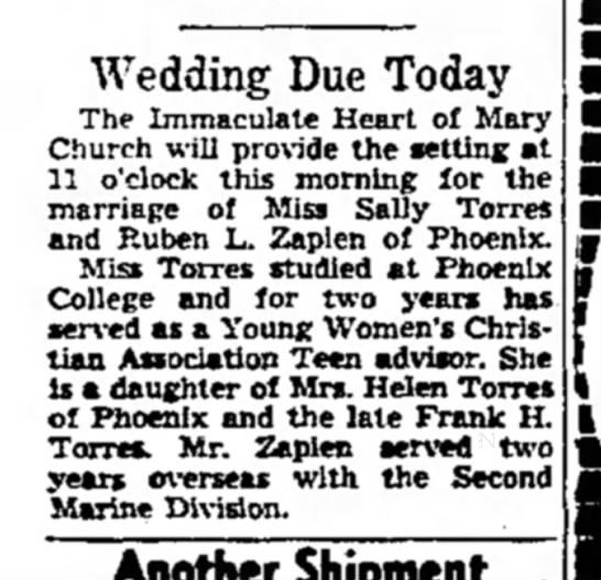 Sally Torres Marriage