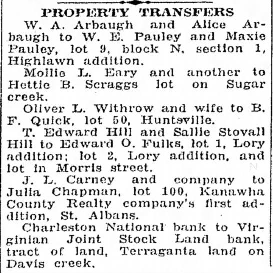 June 1, 1931 Property Transfer -