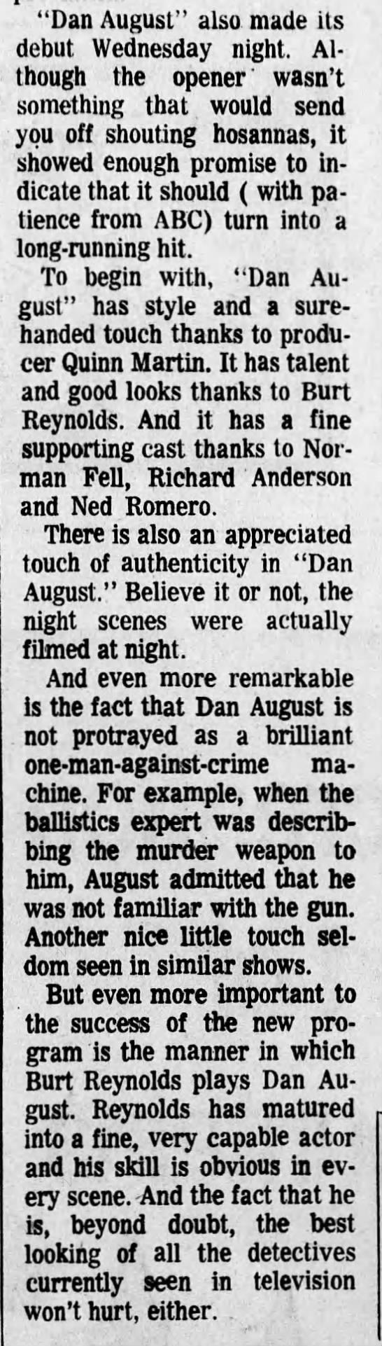 Dan August Arizona Daily Star 25 septembre 1970 -