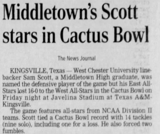 Middletown's Scott stars in Cactus Bowl -