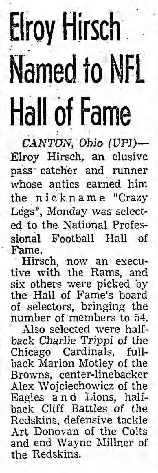 Elroy Hirsch Named to NFL Hall of Fame -