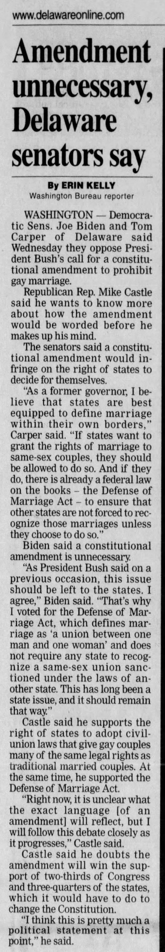 In February 2004, Joe Biden Re-iterates Support For Defense Of Marriage Act -