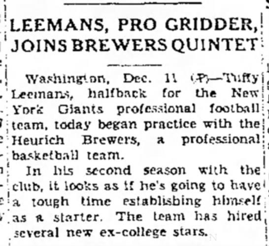 Leemans, Pro Gridder, Joins Brewers Quintet -