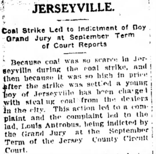 Louis Antrobus convicted of stealing coal - Coal Strike Led to Indictment of Day Grand Jury...