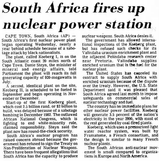 South Africa fires up nuclear power station (1984) -