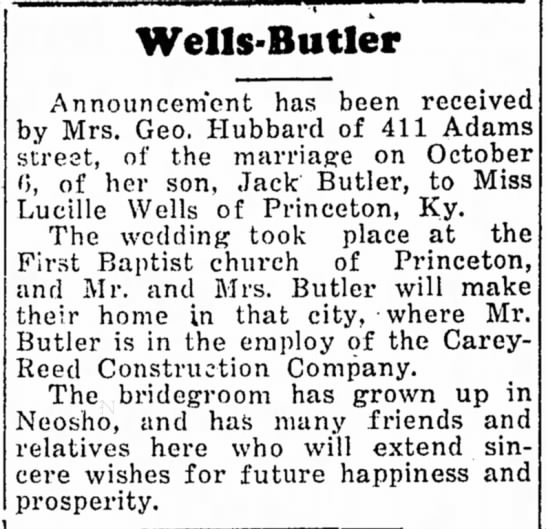 Jack Butler and Lucille Wells marriage -