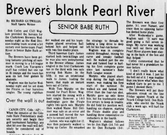 - Brewers blank Pearl River By RICHARD GUTWILLIG...