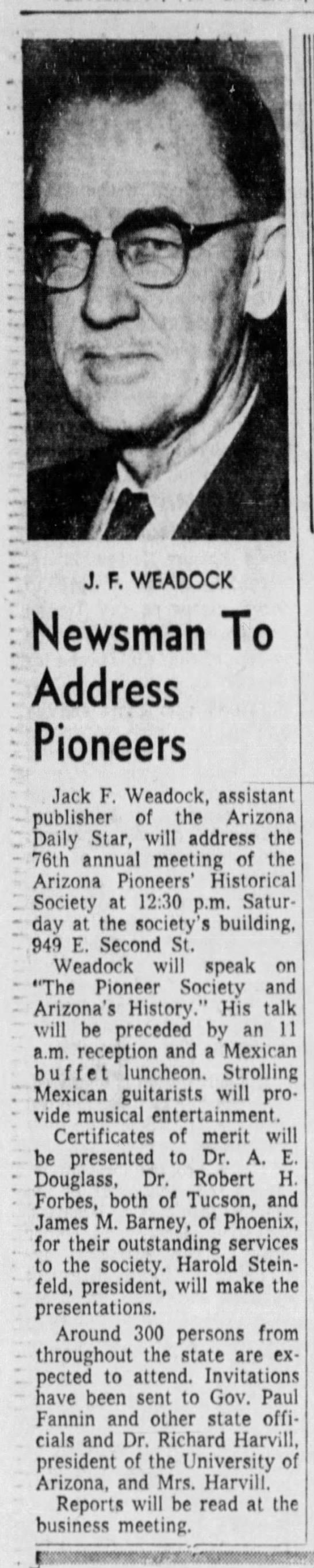 Jack to address the Arizona Pioneers Historical Society -
