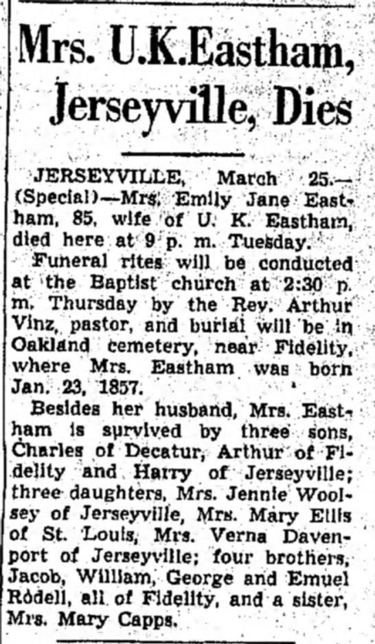 Emiily Jane Rodell Eastham, Alton Evening Telegraph obituary
