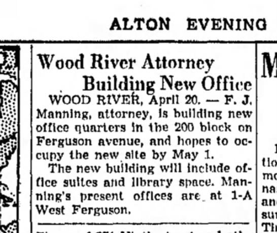 F Manning - ALTON EVENING Wood Rivet* Attorney Building New...