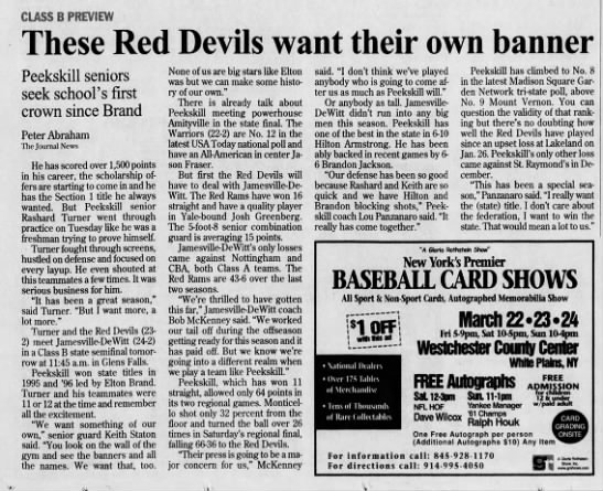 Playing Against Peekskill In 2002 Ny State Final Four Newspaperscom