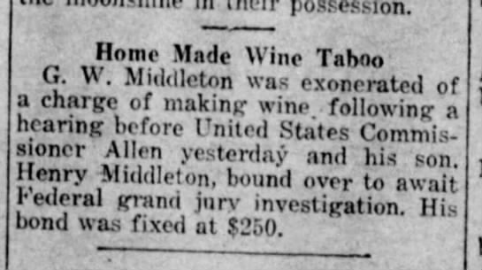 G. W. Middleton exonerated, 31 Aug 1920. -