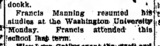 F Manning - dockk. > Francis Manning resumed hit studies at...