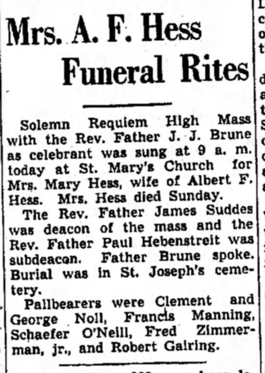 F Manning, Mrs Albert Hess (Mary) -