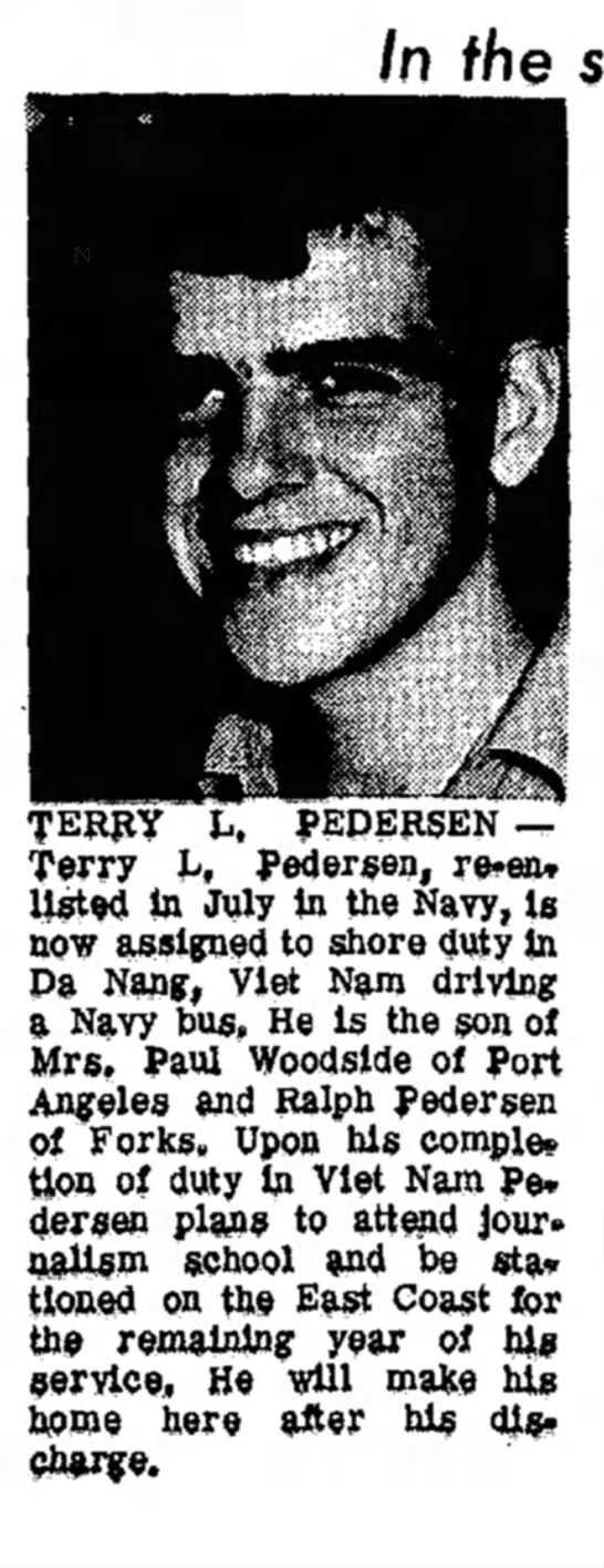 Terry Pedersen miltary service - In the TERRY L, PEDERSEN — Terry L, Pedersen,...