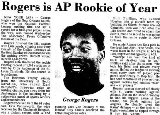 Rogers is AP Rookie of Year -