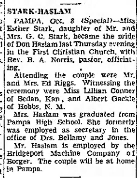 Esther Stark and Don Haslam marriage October 1941. - Greg- ring Hobbs, N. M. the Mrs- Haslam.*·, A....
