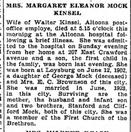Kinsel, walter - Mils: MARGARET ELEANOR MOCK KINSEL Wife of...