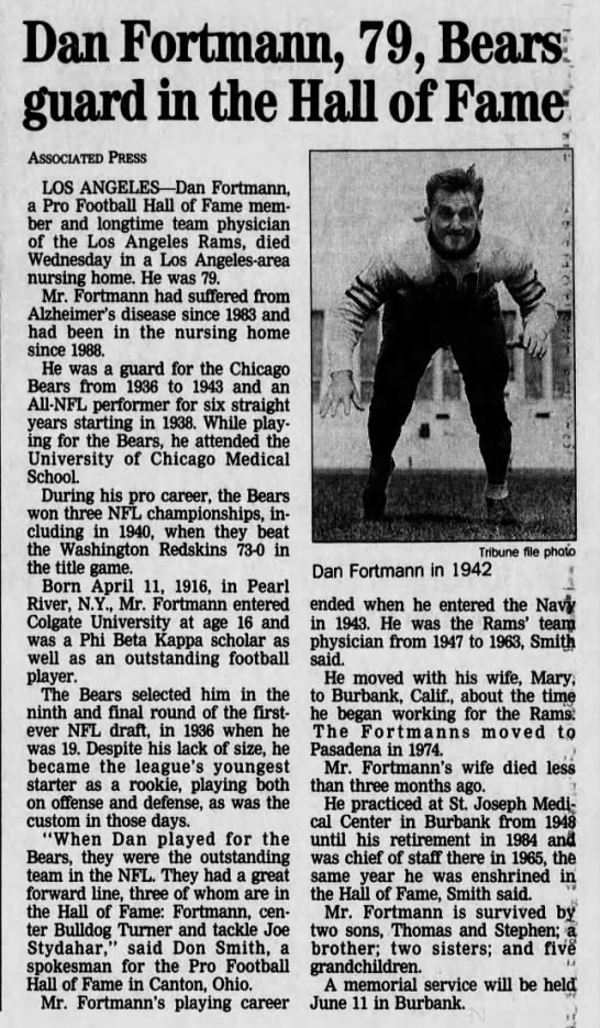 Dan Fortmann, 79, Bears guard in the Hall of Fame -