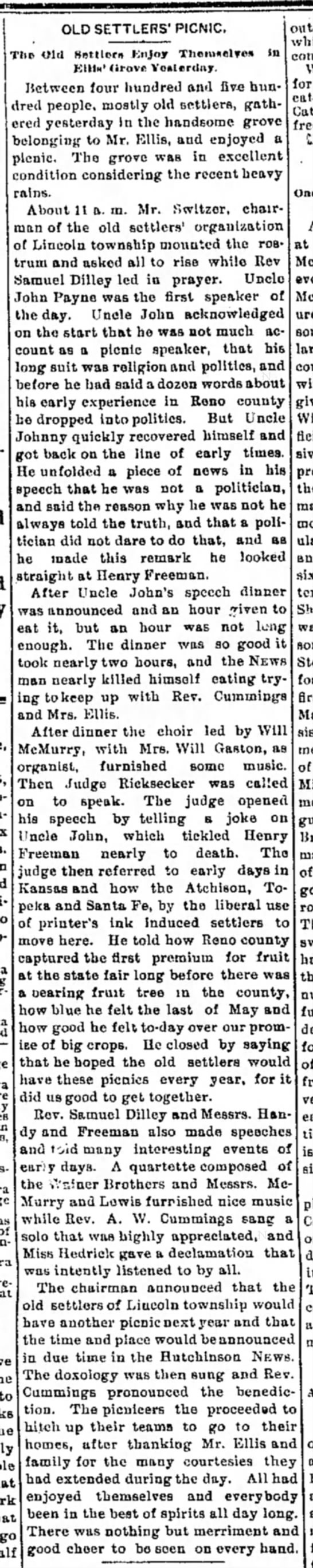 1895 Old Settler's Picnic 13 June 1895 Hutch News P6 -